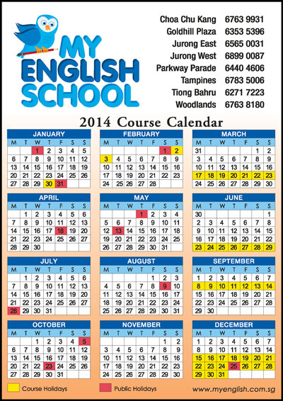 School Calendar Singapore : English school holidays