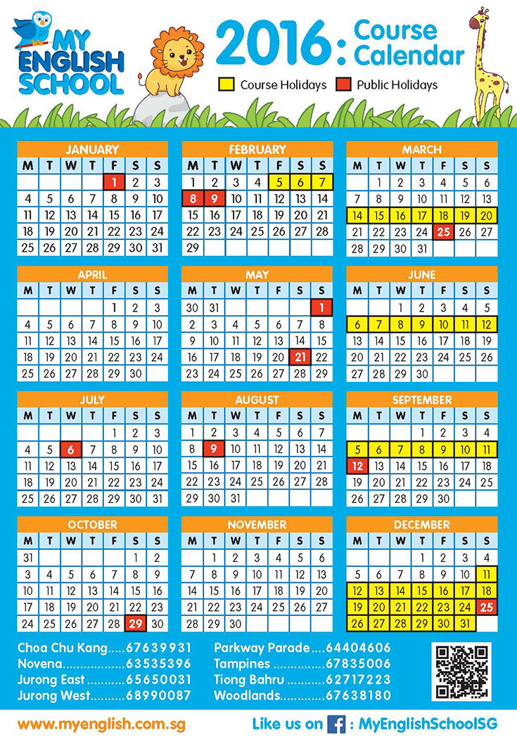 Calendar English : Calendar now available my english school