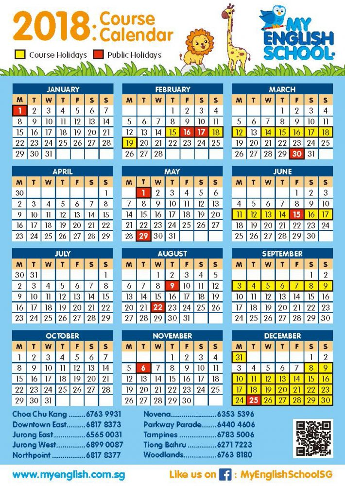 2018 Calendar Now Available My English School